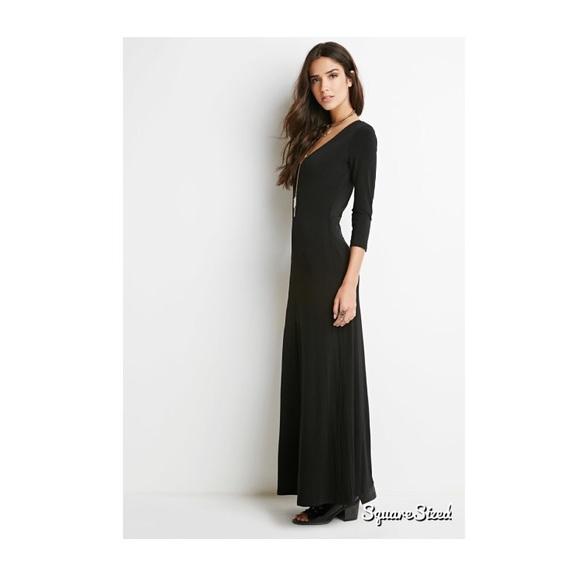 b293002910b Forever 21 Dresses   Skirts - Long Sleeve Black Maxi Dress